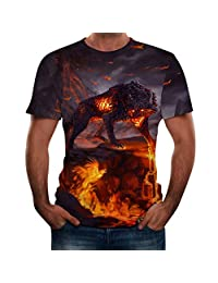 Naladoo 3D Print T-Shirt Fashion Graphic Tee Crewneck Short Sleeve Tops for Men