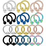 Kridzisw 24PCS 16G Surgical Steel Horseshoe Captive Bead Nose Hoop Ring Septum Eyebrow Lip Cartilage Helix Tragus Earring Hoop Rings Piercing Jewelry for Women Men 10mm Mix Color