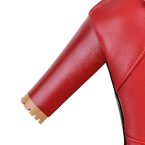 Bas Top Femmes À Solides Rouge Allhqfashion De Fermeture Hauts Pu Talons Glissière Bottes 6vOxRRfw
