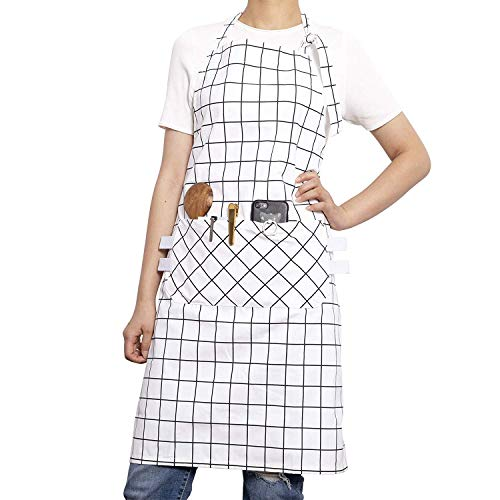 (Xiabing Women's Cotton Plaid Apron with Front Pockets, Waist Ties for Kitchen Cooking, Baking and Gardening,White Plaid)