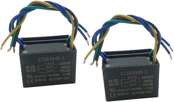 CBB61 Condensador de Ventilador de Techo de 5 Cables 4,5 uf+5 uf+6 ...