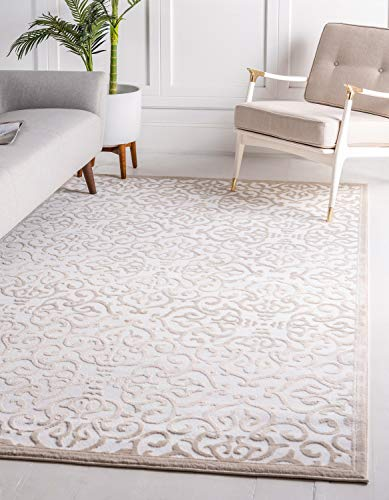 Unique Loom Rushmore Collection Traditional White Tone-on-Tone Snow White Area Rug 4 0 x 6 0