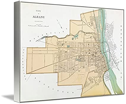 Amazon.com: Imagekind Wall Art Print entitled Vintage Map Of Albany ...