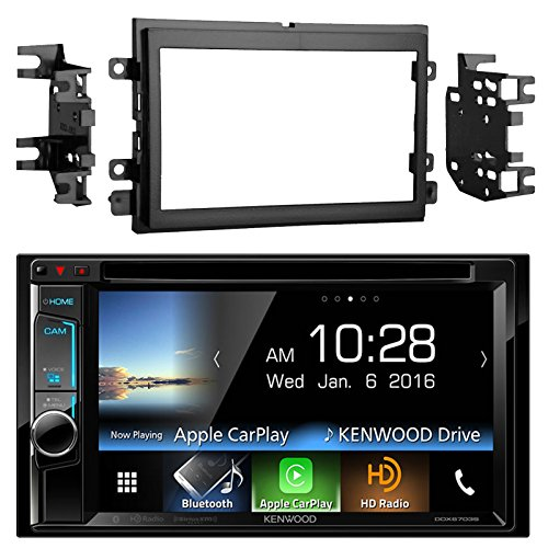 Kenwood DDX6703S 6.2'' Inch Touchscreen Double-DIN CD DVD Player Car Stereo Receiver with Apple Carplay - Bundle Combo With Metra 95-5812 Black Installation Kit for Select 2004 and Up Ford Vehicles by EnrockAutomotiveBundle (Image #1)