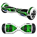 MightySkins Protective Vinyl Skin Decal for Self Balancing Scooter Board mini hover 2 wheel x1 razor wrap cover sticker Green Flames