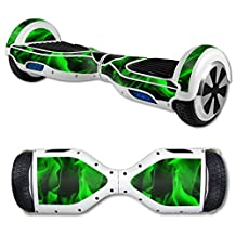 MightySkins Protective Vinyl Skin Decal for Hover Board Self Balancing Scooter mini 2 wheel x1 razor wrap cover sticker Green Flames