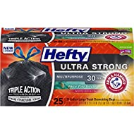 Hefty Ultra Strong Large Trash Bags (Multipurpose, White Pine, Drawstring, 30 Gallon, 25 Count)