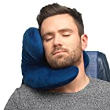 J Pillow Travel pillow - Head, Chin, Neck Support in Any Sitting Position for Airplanes, Cars, Trains, Machine Washable, attach luggage - British Invention of the Year - Dark blue