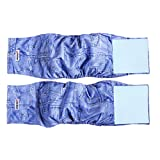 "Wegreeco Jeans Washable Male Dog Diapers (Pack of 2) - Washable Male Dog Belly Wrap (Small - 13""-16""waist)"