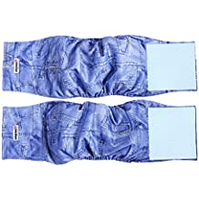 Wegreeco Washable Male Dog Diapers - (2 Pack) - Dog Diapers Male Adjustable Size By Velcro (Small)