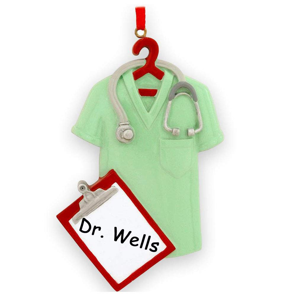 Personalized Green Scrubs with Clip Board and Stethoscope Christmas Tree Holiday Ornament Decoration Gift for RN Nurse Surgical Technician PA NP Doctor with Custom Name by Rudolph and Me