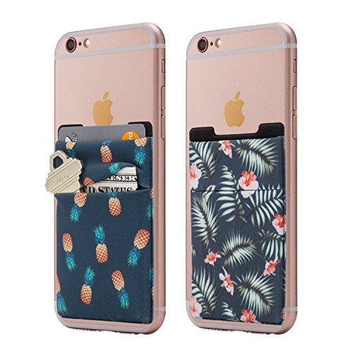 (Two) Stretchy Cell Phone Stick On Wallet Card Holder Phone Pocket for iPhone, Android and All Smartphones. (Pineapple&Palm) (Phone Case With Pocket)