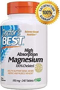 Lisinato Glicinato de Magnesio de Doctor's Best | Suplemento | Alta Absorción | Quelante al 100% | Sin OGM, Vegano, sin Gluten, sin Soja | 100 mg |240 tabletas
