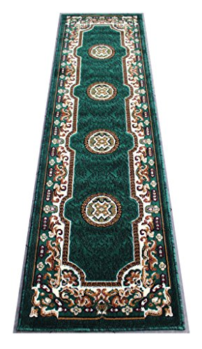 Traditional Runner Area Rug Hunter Green (2 Feet X 7 Feet 2 (American Cottage Sage)