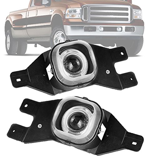 AUTOSAVER88 Halo Projector Fog Lights H3 12V 55W Warm White Halogen Lamp For Ford F250 1999-2004 F350 F450 F550 Super Duty 2001-2004 Excursion 2001-2004 (Clear Lens w/ Bulbs)