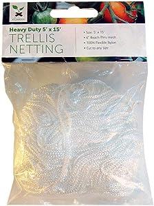 "xGarden 5FT x 15FT Garden Trellis Netting - Heavy Duty Nylon Cord with 6"" Reach Through Mesh"