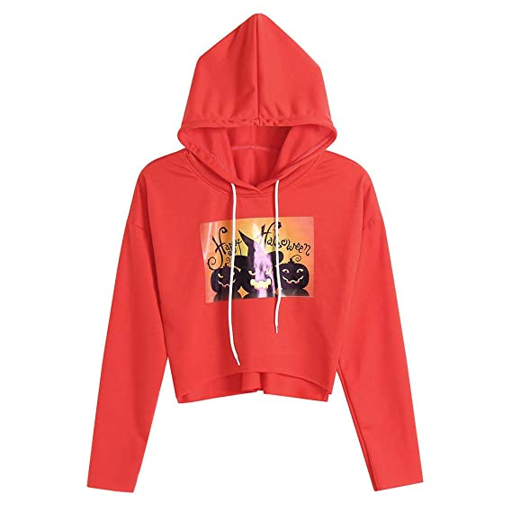 JYC Sudaderas para Mujer,Mujer Halloween Calabaza Impresión Largo Manga, Blusa Parte Superior Encapuchado Camisa de entrenamie: Amazon.es: Ropa y accesorios