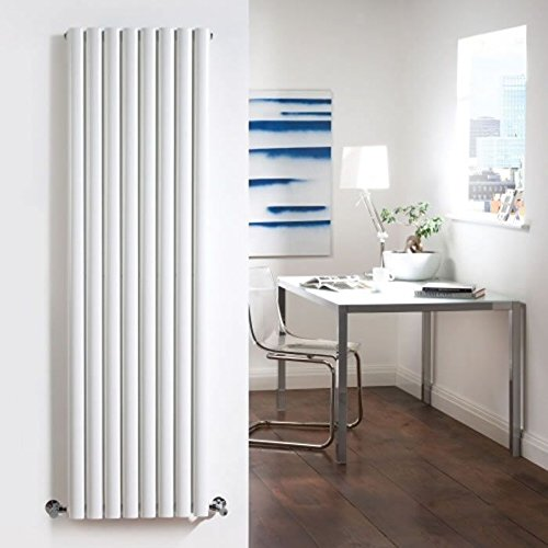New Revive Luxury White Vertical Double Designer Radiator Heater Steel Hydronic Warmer - 70'' x 18.6'' - Chrome Angled Valves & Wall Fixing Brackets Included by Hudson Reed (Image #1)