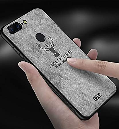 sneakers for cheap 66833 dbab9 Amozo® - Deer Series - Soft Fabric Hybrid Protective Back Case Cover for  OnePlus 5T / One Plus 5T