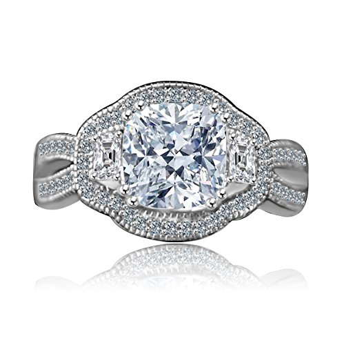 Diamond Veneer - 2.5Ct. Cushion Radiant Vintage Micro Pave Halo Split Shank Engagement Three Stone Ring (Clear, 9) -