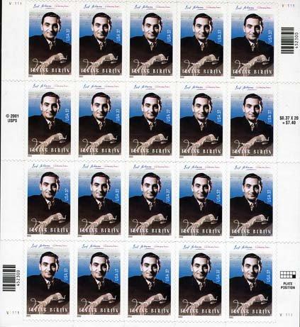 Irving Berlin Sheet of Twenty 37 Cent Stamps Scott - Sunglasses Irving