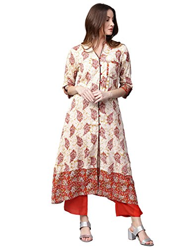 Jaipur Kurti Women Off-White & Maroon Printed A-Line Rayon Kurta with - Women Salwar Suits For Wear Party