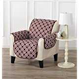 Printed Deluxe Reversible Stain Resistant Furniture Protector with Printed Pattern. Includes Adjustable Elastic Straps. Liliana Collection by Great Bay Home Brand. (Chair, Oxblood Red)