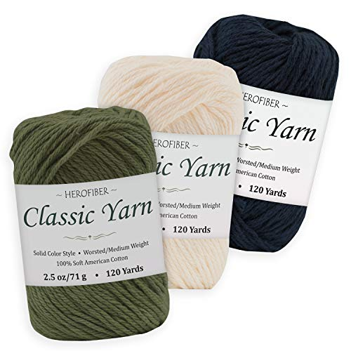 Cotton Yarn Assortment | Khaki Green + Parchment White + Dark Denim | 2.5oz / Ball - 3 Solid Colors - Worsted/Medium Weight - for Knitting, Crochet, Needlework, Decor, Arts & Crafts Projects