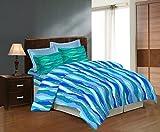Bombay Dyeing Cealina Double Bedsheet DSN-08 - Poly Cotton - Bedsheet(229cm x 254cm) & Pillow Cover(43cm x 69cm) - BLUE- TC-124