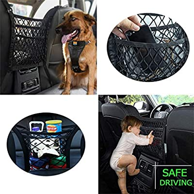 DYKESON Upgraded 3-Layer Pet Barrier Dog Car Net Barrier with Auto Safety Mesh Organizer Baby Stretchable Storage Bag Universal for Cars, SUVs -Easy Install,Safer to Drive with Children and Pets