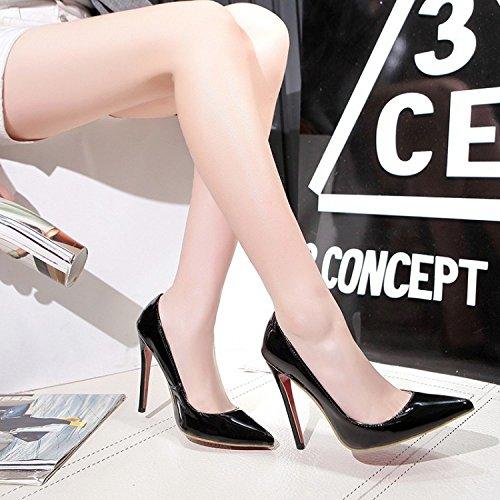 AQOOS Femmes Extreme Haute Couture Bout Pointu Pompes Mariage Robe Stiletto Glisser Sur Les Chaussures Black tM9GS8Ox9h