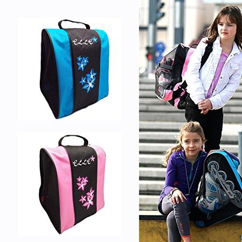 In Line Hockey Helmets (ELLE Ice Skate Bag Roller Inline Hockey Skates Rollerblade Bag for Girls Boys Kids Children Adultes Pink Waterproof)