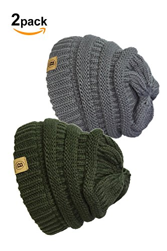 Basico Unisex Adult Warm Chunky Soft Stretch Cable Knit Beanie Cap Hat (101 2pk CGrey/Army Green)