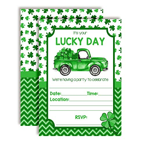 Lucky Day Truck with Clover Birthday St. Patrick's Day Party Invitations, 20 5