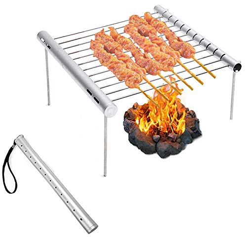 (Beyonds Portable Camping Grill, Folding Compact Stainless Steel Charcoal Barbeque Grill for Campers, Backpacking, Backyards, Survival)