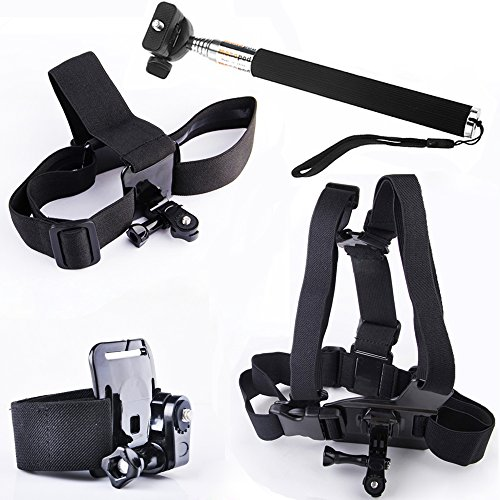 pangshi® Head strap Mount + Chest strap Mount + Hand Wrist Arm Strap Mount + Extendable Handheld Monopod Accessories Kit for Sony Action Cam HDR-AS100V AS30V HDR-AS200V FDR-X1000V HDR-AZ1