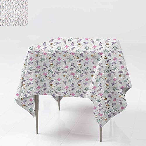 DUCKIL Washable Table Cloth Sketch Art Style Birds Cupcakes Baby Carriages and Tulip Flowers Newborn Theme Picnic W50 xL50 Multicolor