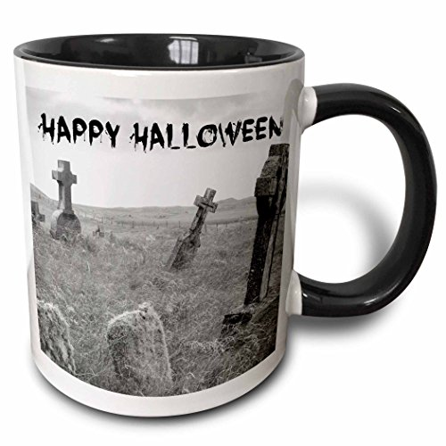 3dRose Xander holiday quotes - happy Halloween black letters on picture of scary tombstones - 15oz Two-Tone Black Mug (mug_201869_9) ()