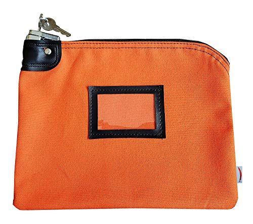 Locking Money Bank Bags with Keys (Small) Deposit Cash, Coins, Bills, Change | Lockable Security, Keyed Entry | Heavy-Duty Canvas | Professional Business Banking (Orange)