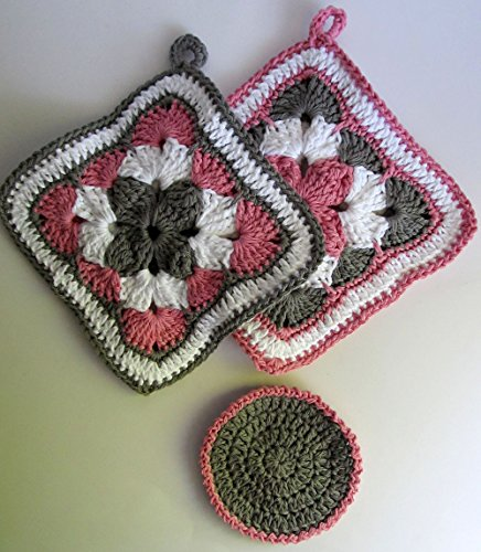 - Handmade Double Thick Cotton Kitchen Potholder Set, Crochet Trivets Set of 2, Reversible Potholders Kitchen Gift Set/Vintage Pattern Pink Gray & White Hot Pads, Free Dish Scrubber