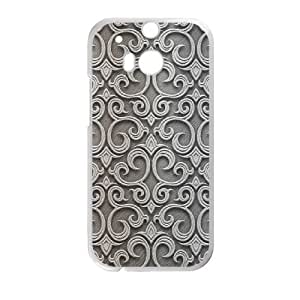 Baroque Silver Pattern HTC One M8 Cell Phone Case White Exquisite gift (SA_475795)