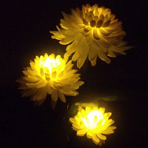 Vanpower Solar Power Chrysanthemum Flower 3-LED Light Garden Yard Path Outdoor Lamp - Yellow