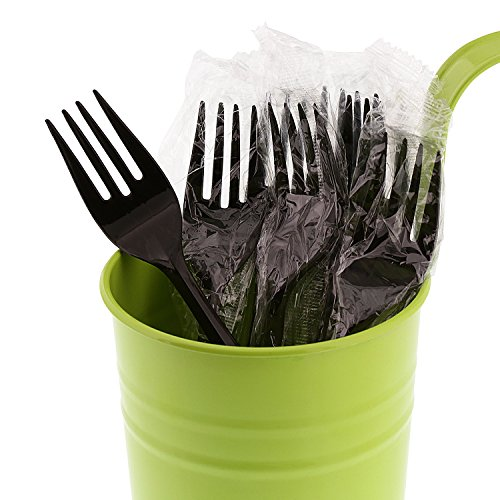 AmerCare Medium Weight Black Polypropylene Forks, Individually Wrapped, Case of 1000