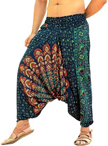 Kiara Mens Handmade Printed Baggy Hippie Boho Aladdin Alibaba Harem Pants Gypsy Yoga Hare Pants - Mandala Special Edition (Green) -