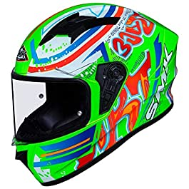 SMK Helmets – Stellar – Graffiti – Fluorecent Green Red Orange – Pinlock Anti Fog Lens Fitted Single Clear Visor Full…
