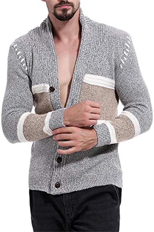 Madeinely Sweatshirts Męskie Schal Kragen Cardigan Sweater Button Front Solid Strickwaren Beiläufiger Strickjacke Frühling Herbst Winter (Color : Gray, Size : L): Küche & Haushalt