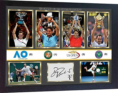 - S&E DESING Roger Federer Signed Photo Print Picture 20 Grand SLAM Championships Framed -MDF