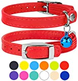 "CollarDirect Leather Cat Collar, Cat Safety Collar with Elastic Strap, Kitten Collar for Cat with Bell Black Blue Red Orange Lime Green (Neck Fit 9""-11"", Red)"
