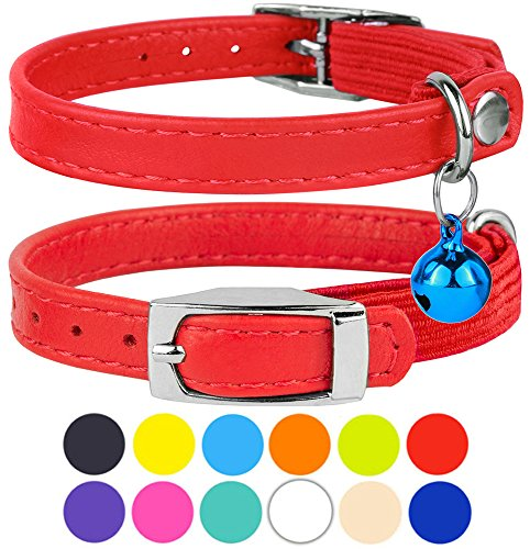 (CollarDirect Leather Cat Collar, Cat Safety Collar with Elastic Strap, Kitten Collar for Cat with Bell Black Blue Red Orange Lime Green (Neck Fit 6