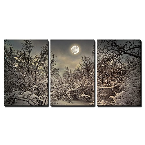 """Wall26 - 3 Piece Canvas Wall Art - Moonlight Night in Winter Wood - Modern Home Decor Stretched and Framed Ready to Hang - 24\""""x36\""""x3 Panels"""